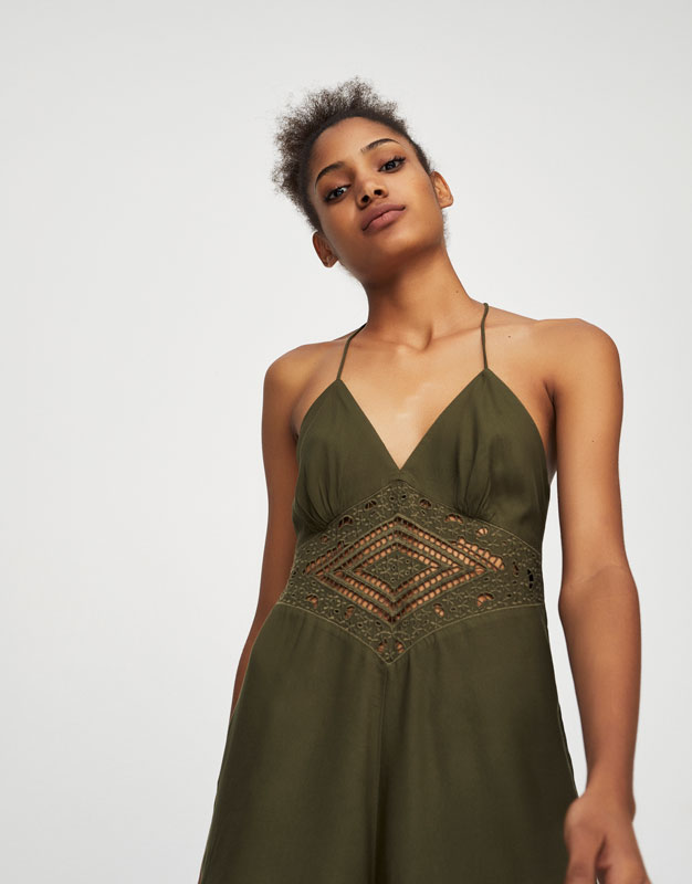 Jumpsuit with embroidered waist