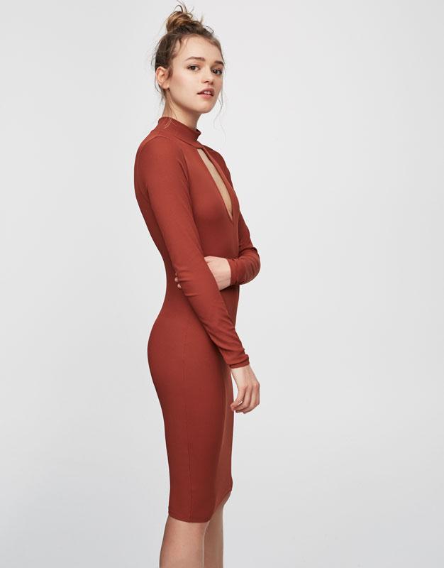 Ribbed dress with teardrop neckline