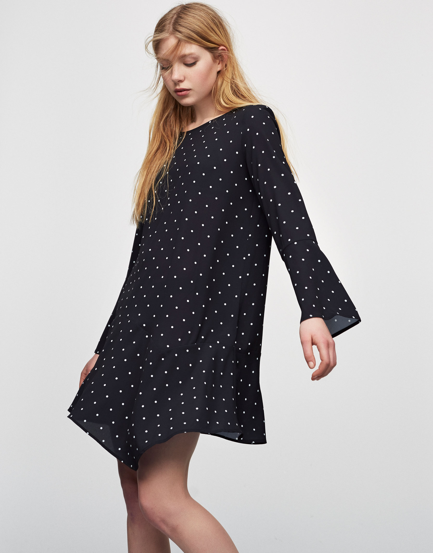 A-line dress with bell sleeves