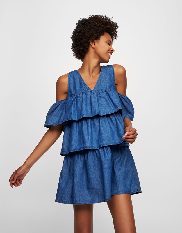 Frilled denim dress