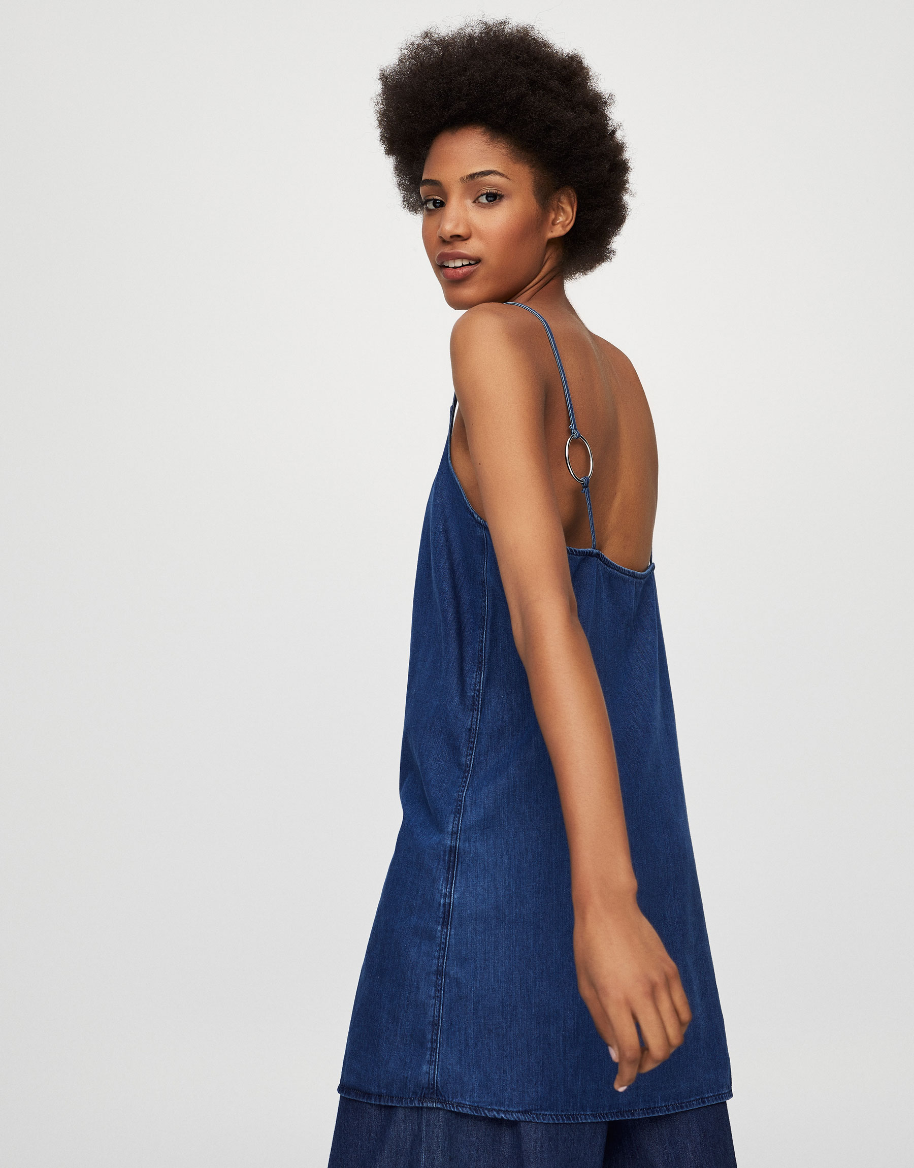 Denim dress with ring detail on the straps