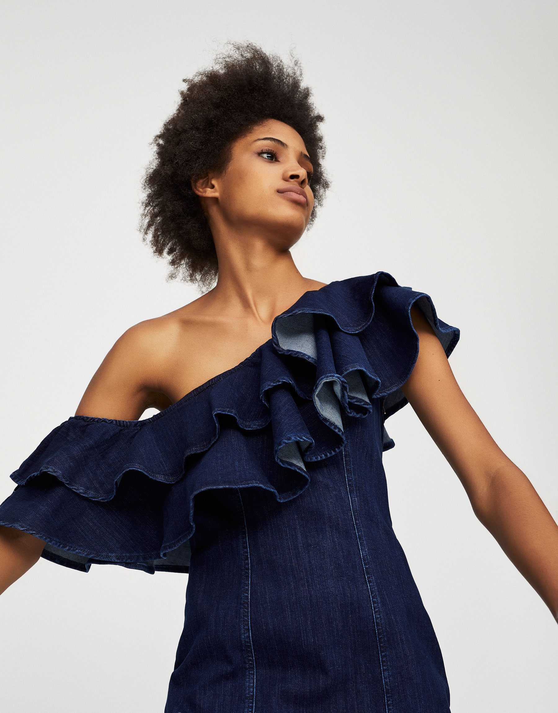 Fitted denim dress with frills