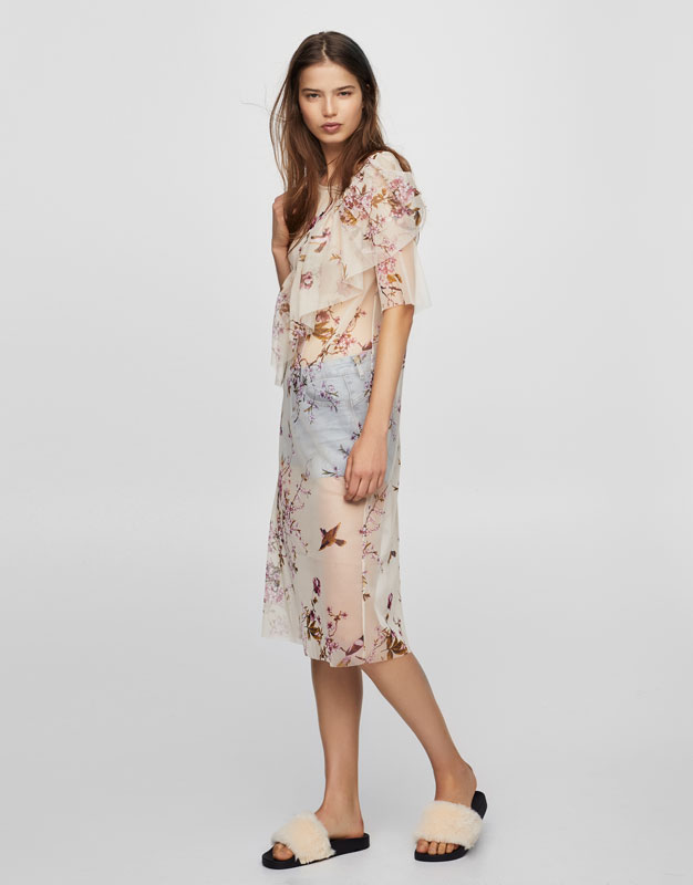 Fitted floral tulle dress