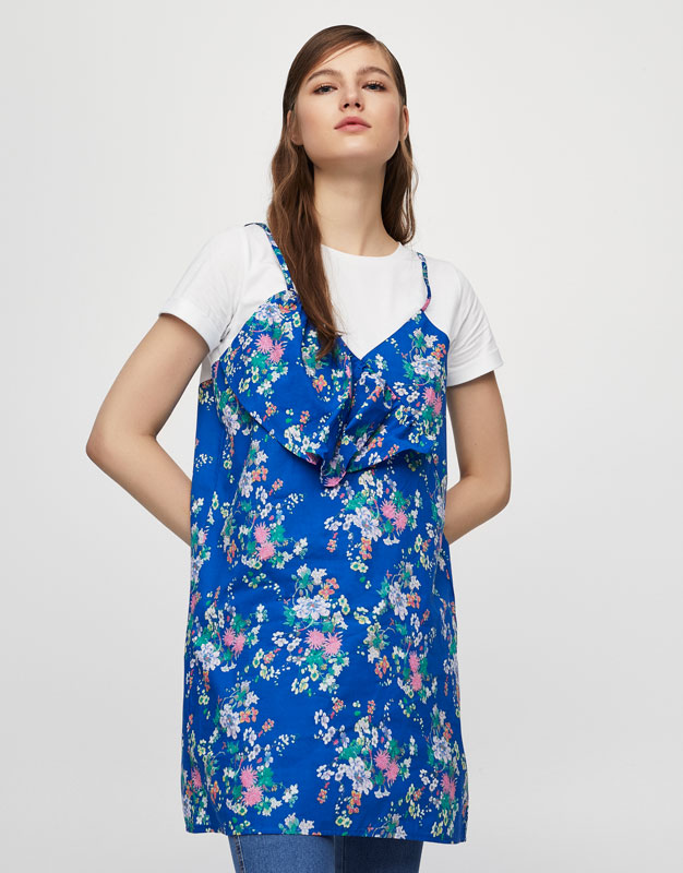 Floral dress with inner shirt