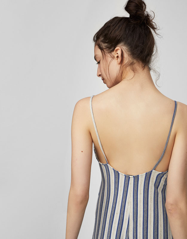 Striped jumpsuit with knot detail