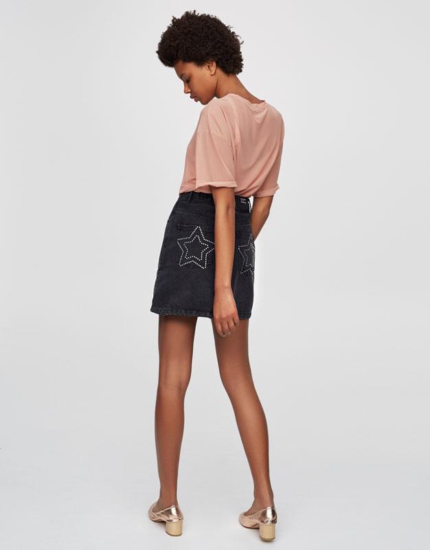High waist denim skirt with stars