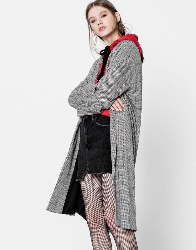 Cut-out denim mini skirt