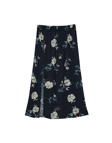 Floral skirt with side slit