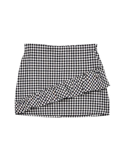 Gingham check frilled mini skirt
