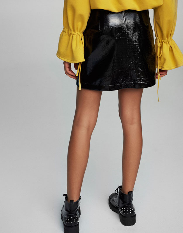 Patent finish mini skirt