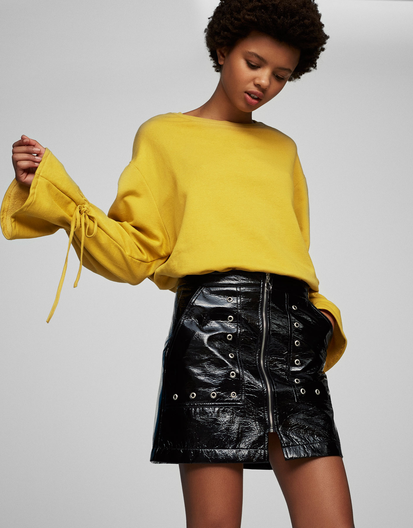 Patent finish mini skirt