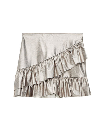 Metallic mini skirt with frills