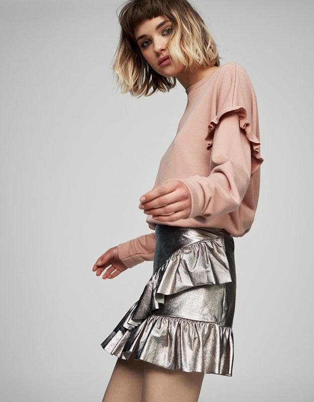 Metallic mini skirt with frills