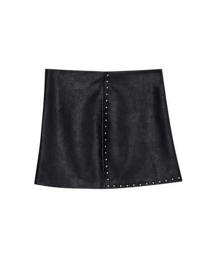 Mini skirt with vent and studs