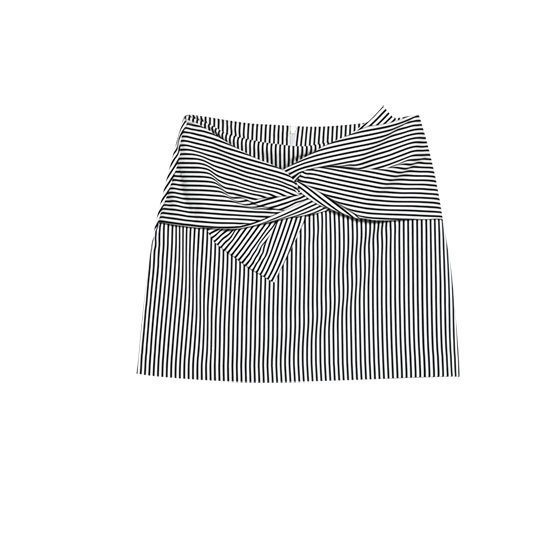 Striped miniskirt with front bow