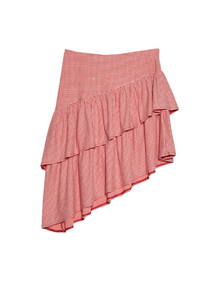 Checked frilled skirt
