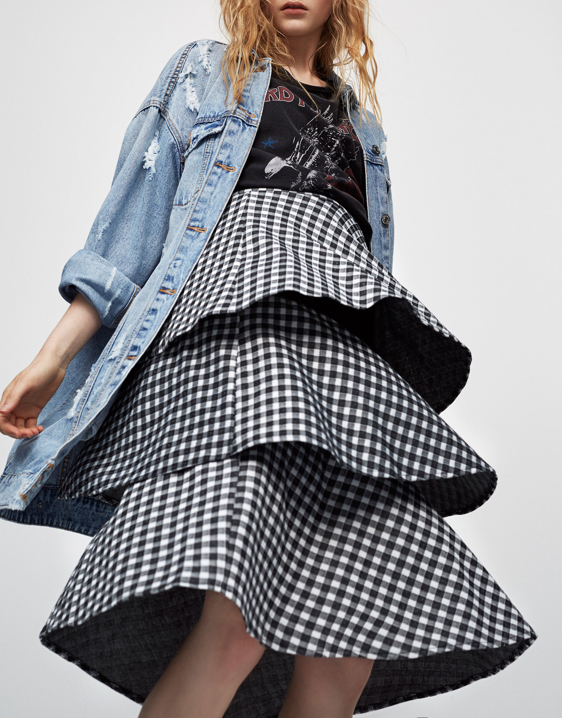 Gingham check skirt with frill