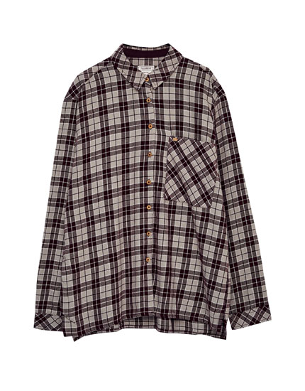 Long-sleeve checked shirt