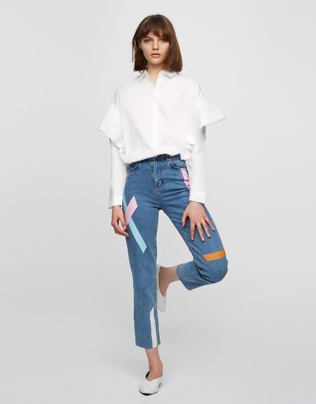 Long sleeve shirt with frills