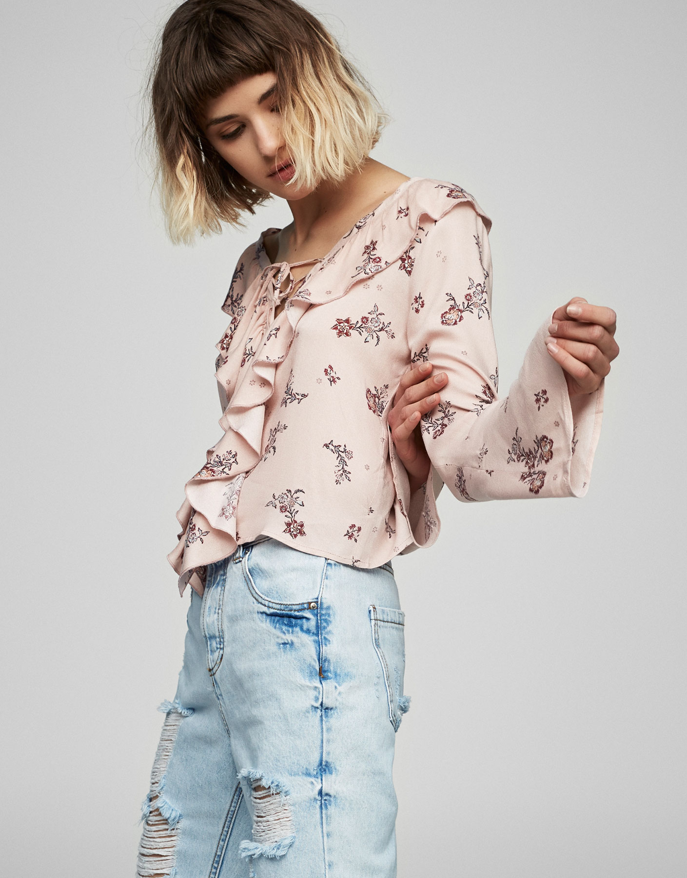Frilled top with print