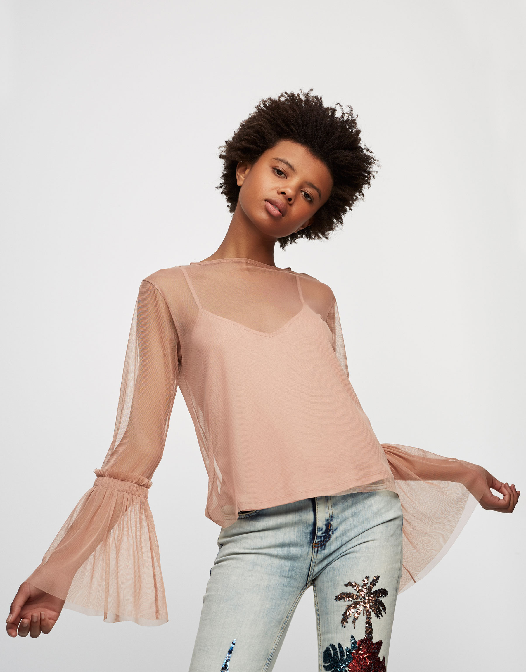 Tulle top with gathered and frilled sleeves