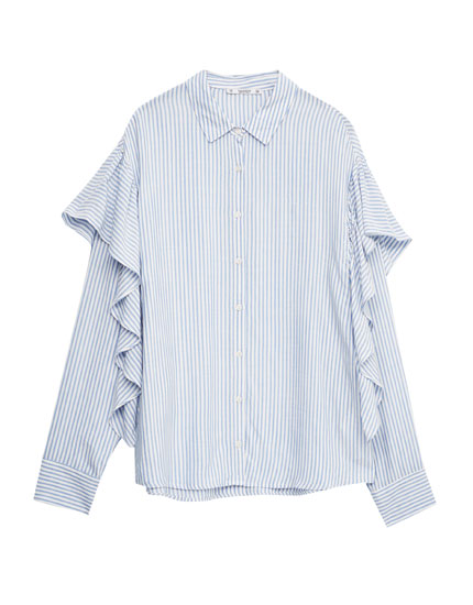 Oversized striped frilled shirt