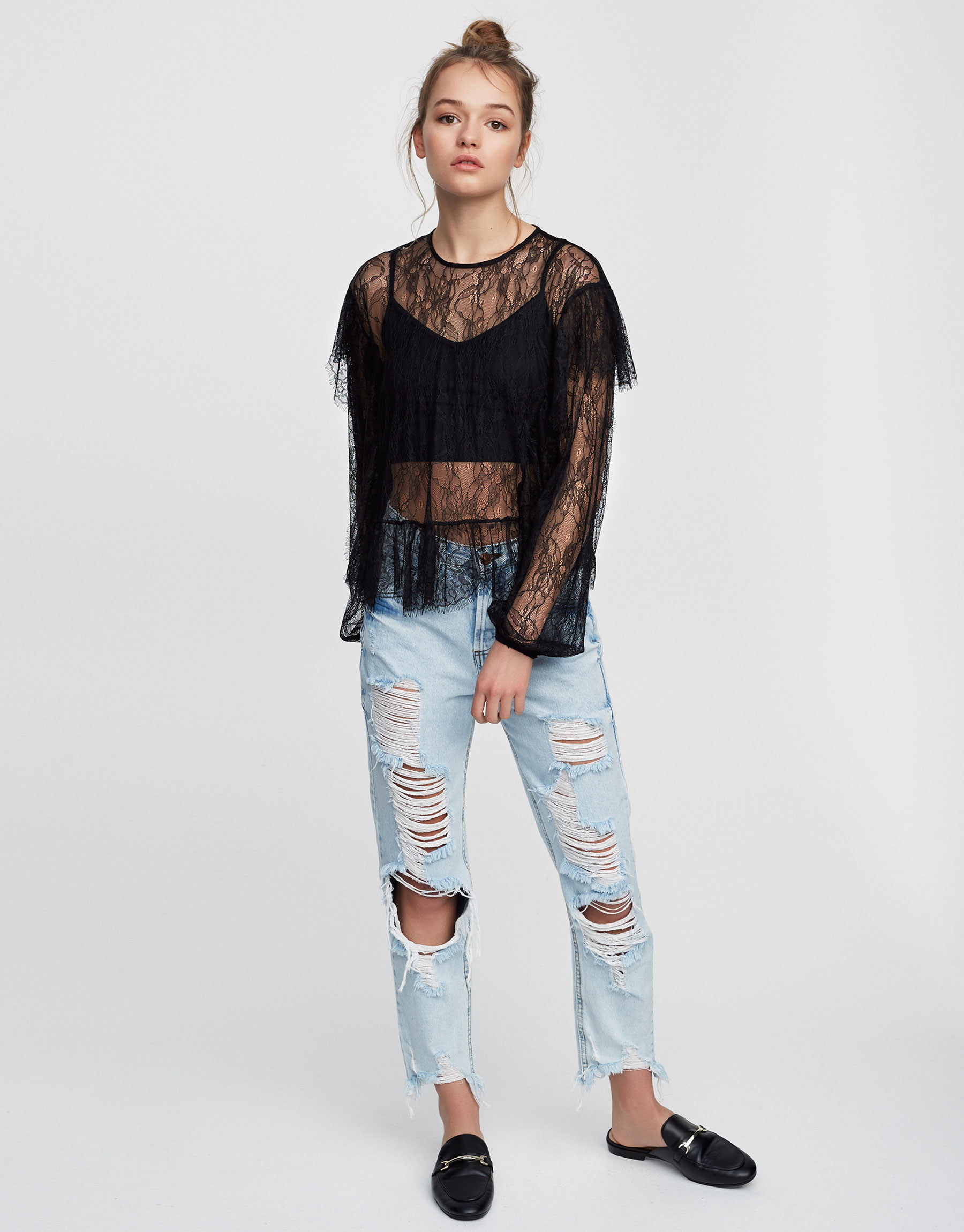 Top with frill and lace