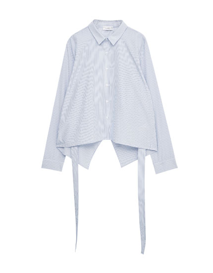 Striped shirt with back knot