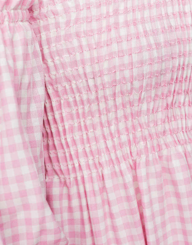 Gingham check top with elastic neckline