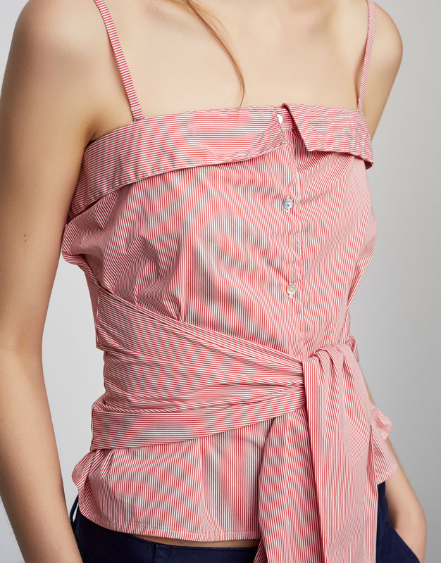 Poplin top with front knot