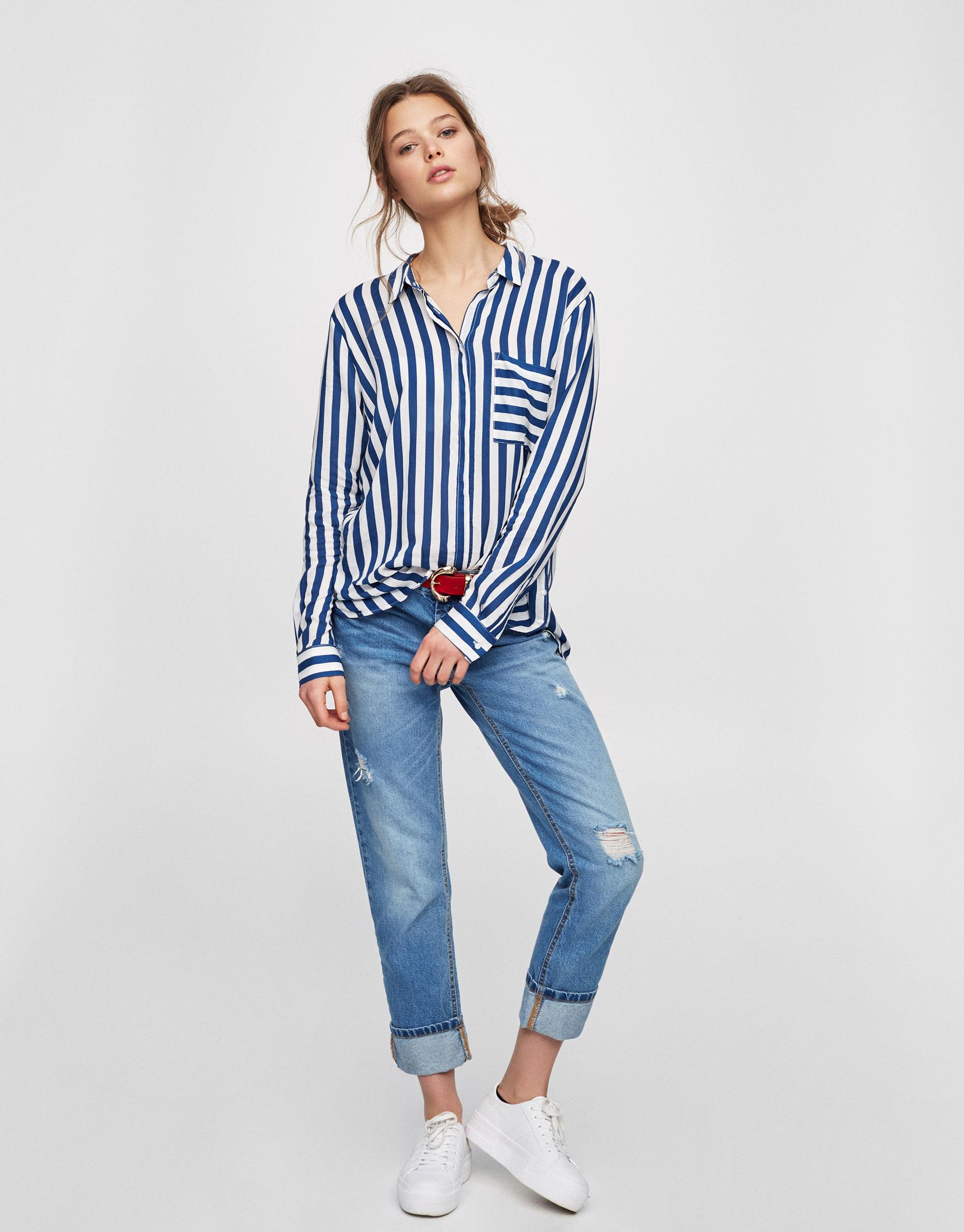 Chemise imprimée manches longues - Chemises - Blouses et chemises - Vêtements - Femme - PULL&BEAR France