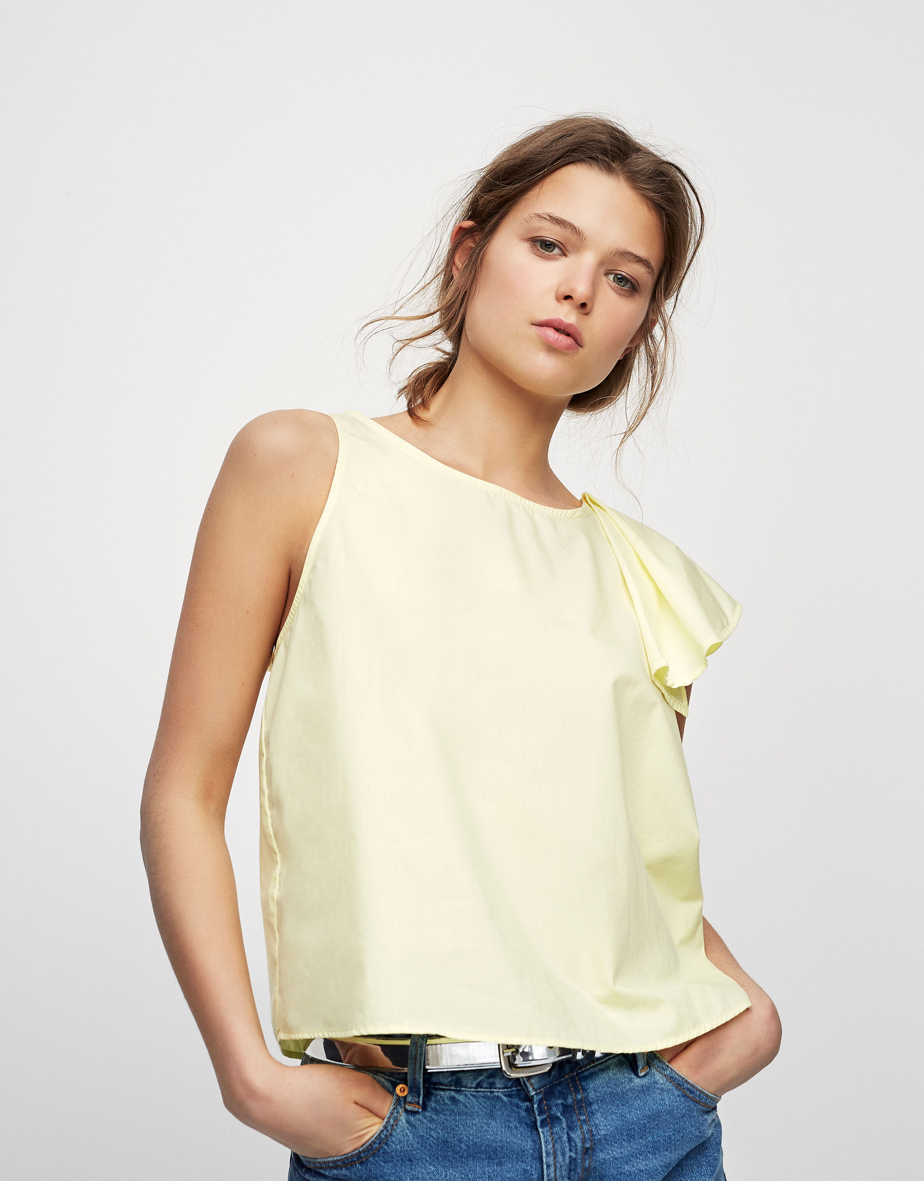 Poplin top with ruffled shoulder