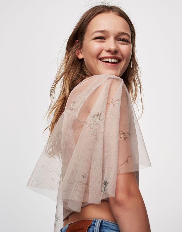 Tulle top with print