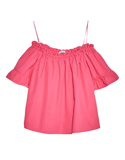 Ruffled sleeve top with elastic neckline