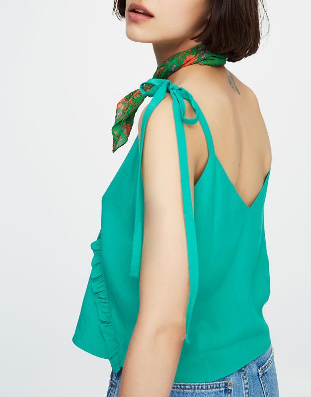 Crop top with tie-up straps