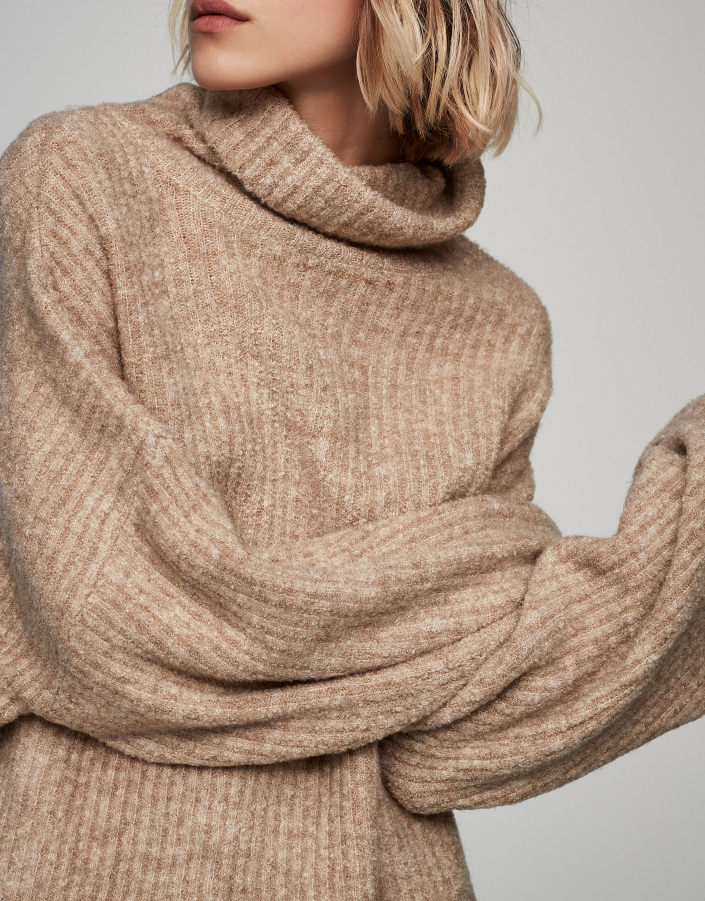 Roll neck plush ribbed sweater