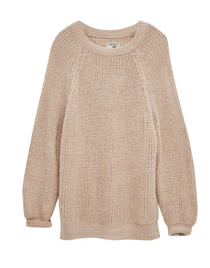 Long fit sweater with raglan sleeves