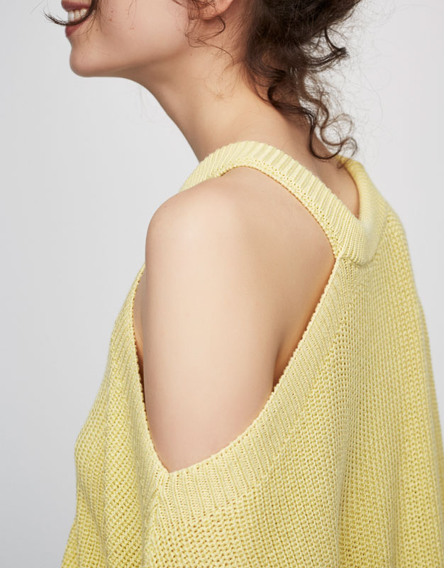 Sweater with asymmetric neckline