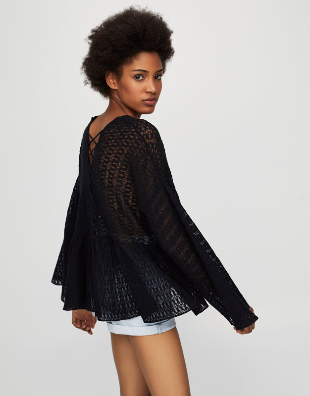 Flared sleeve blouse with corset-style detail