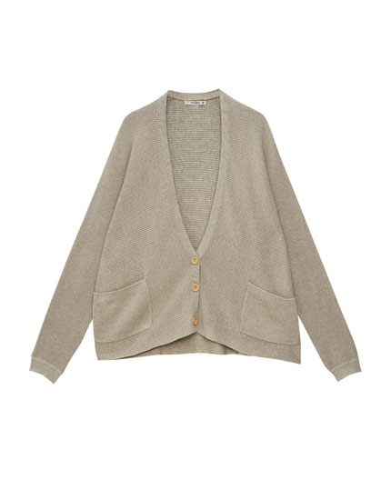 Knit cardigan with batwing sleeves