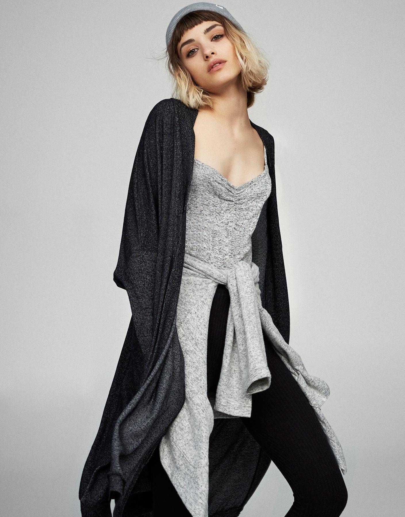 Oversized cardigan with side slits