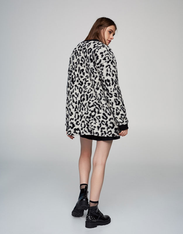 Long fit bomber jacket with animal print
