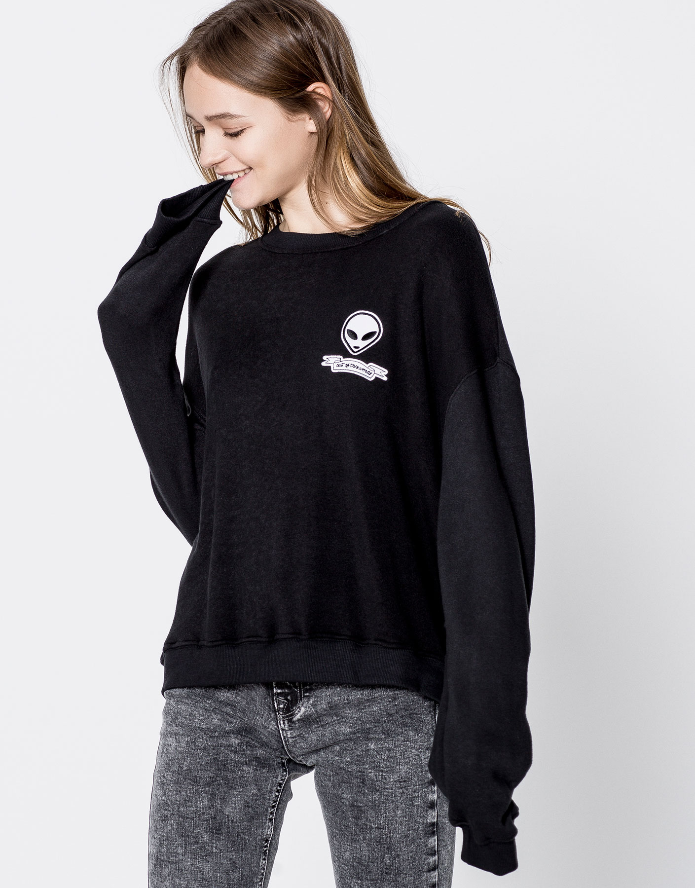 Sweatshirt met alienpatch