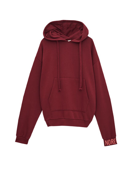 Hooded sweatshirt with back text