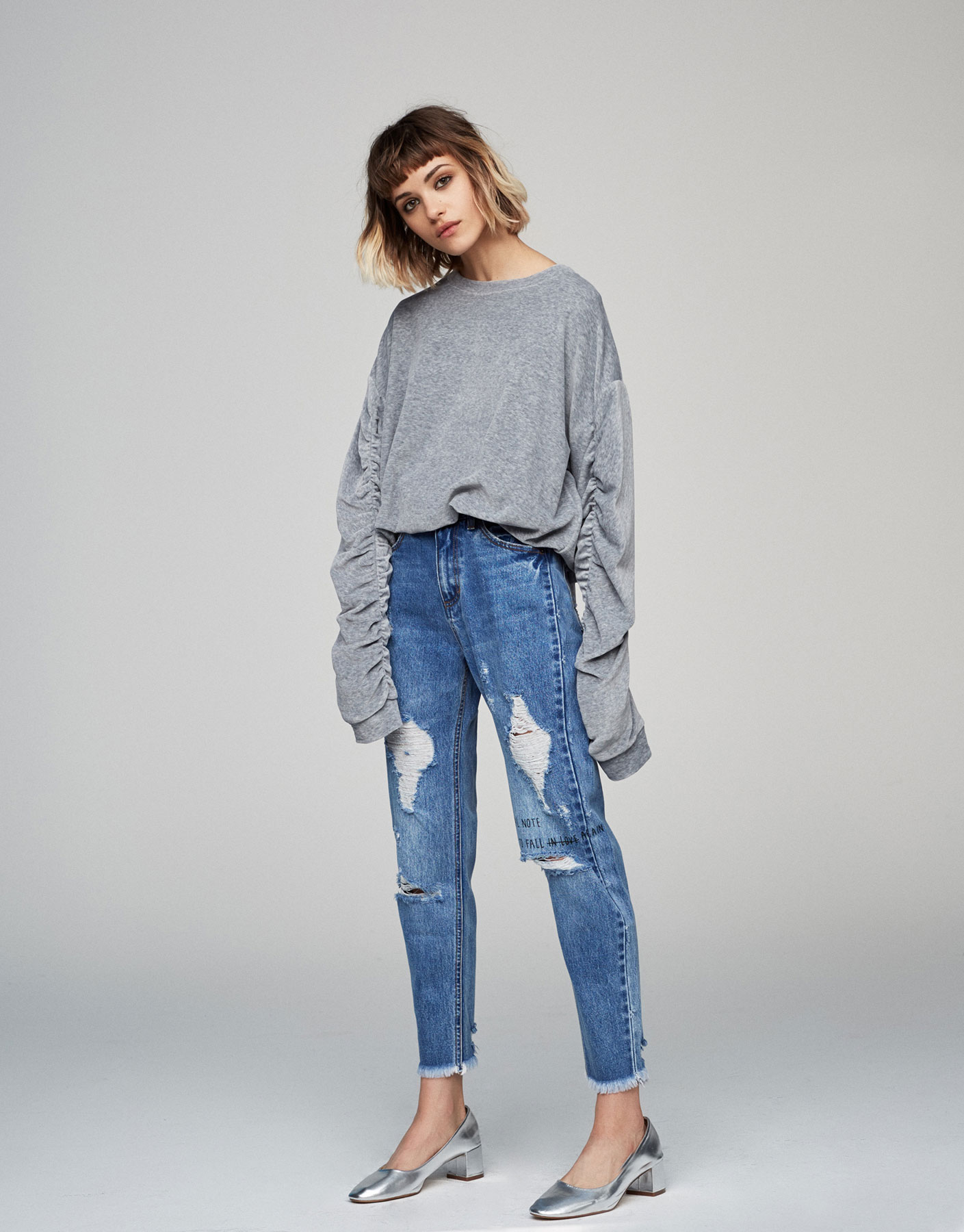 Gathered sleeve soft sweatshirt