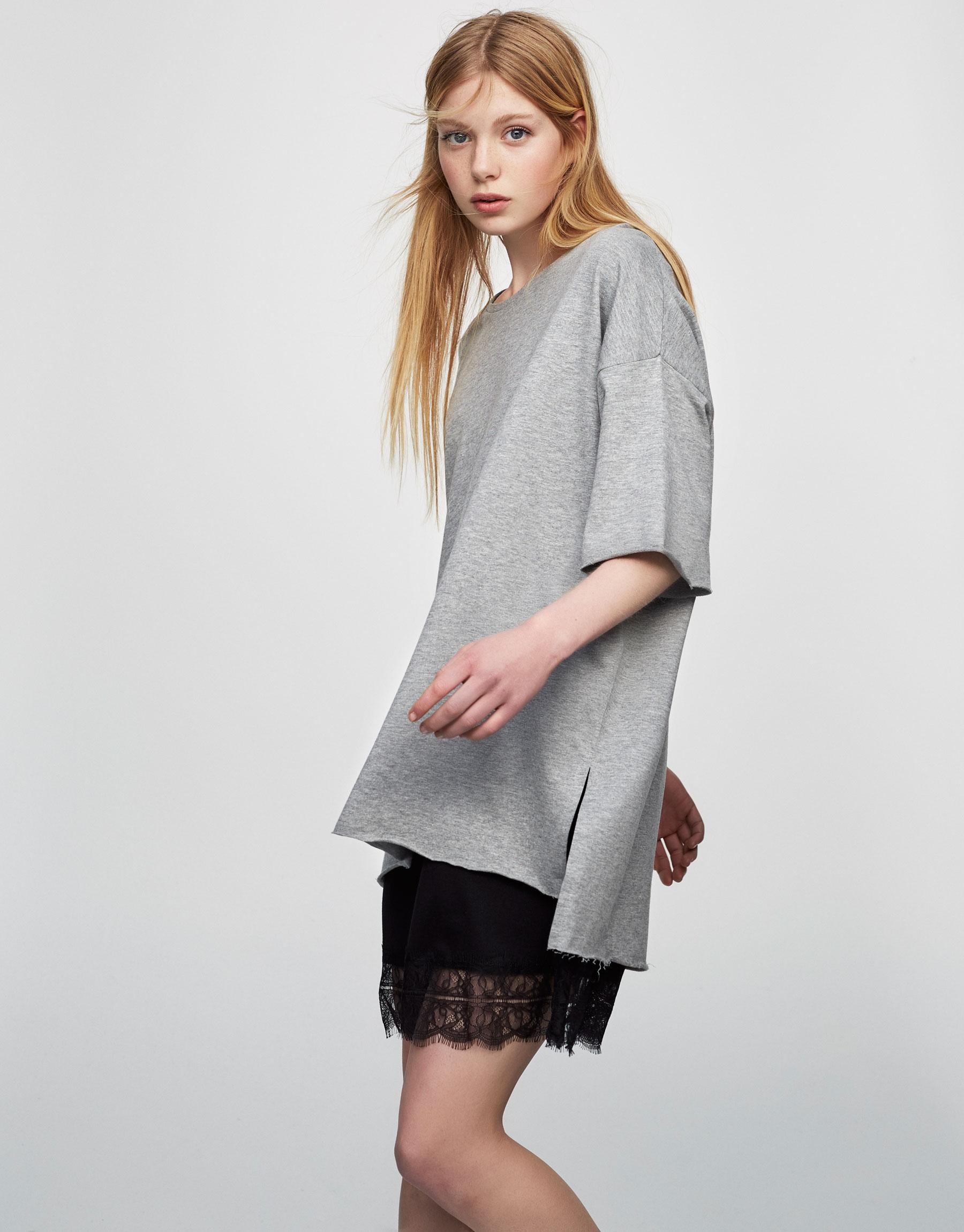 Basic-Sweatshirt mit Seitenschlitzen