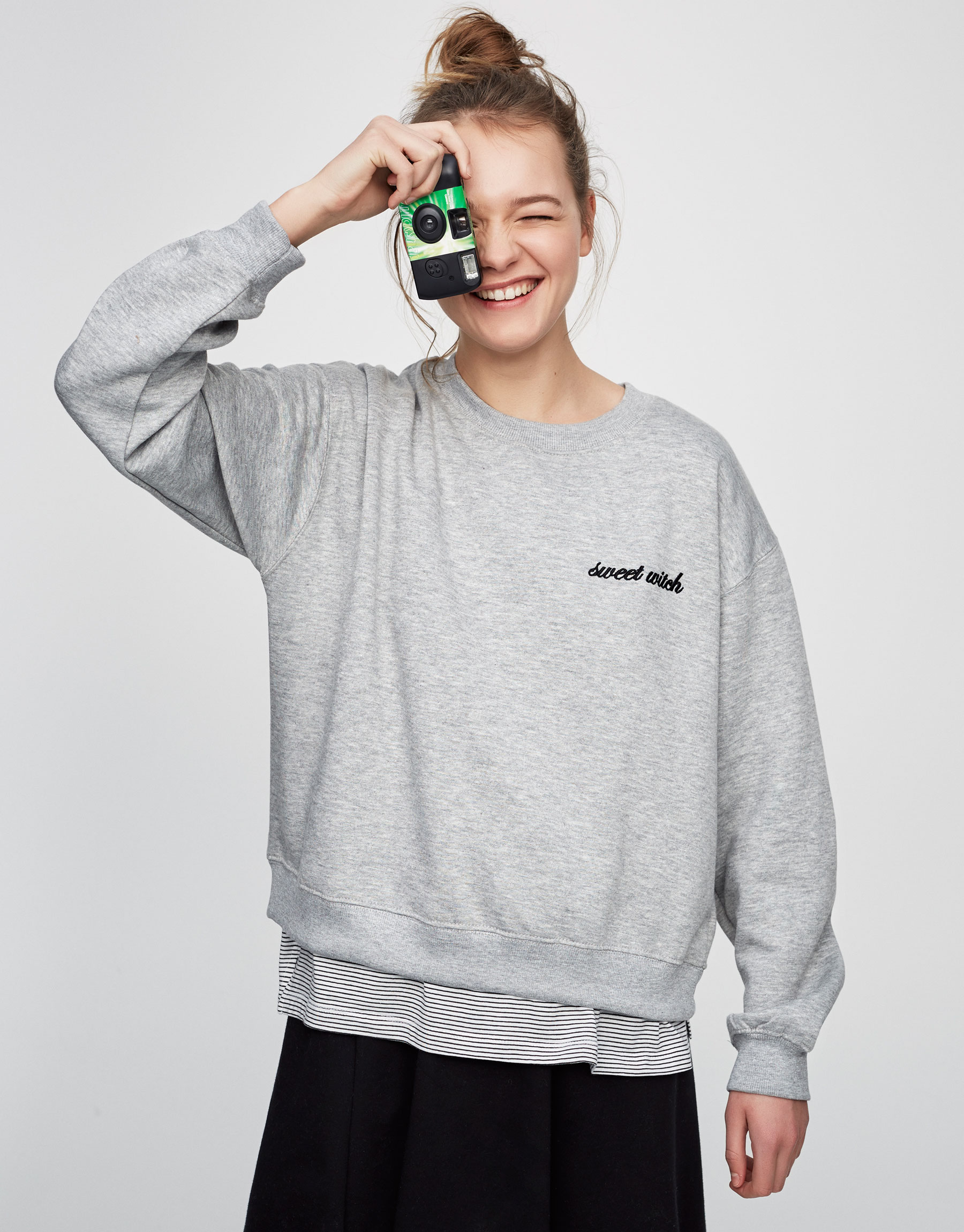 Embroidered text sweatshirt