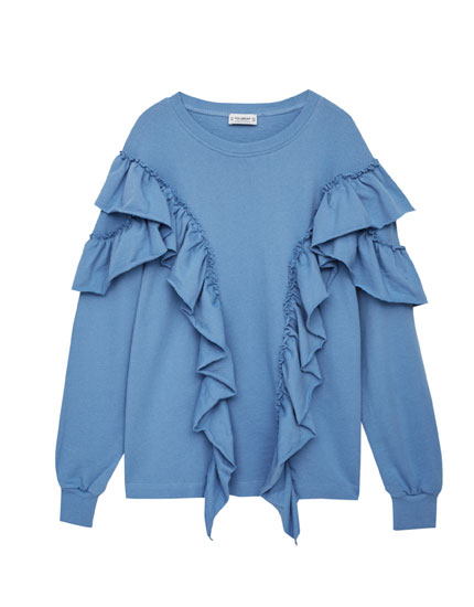 Sweatshirt with front frill