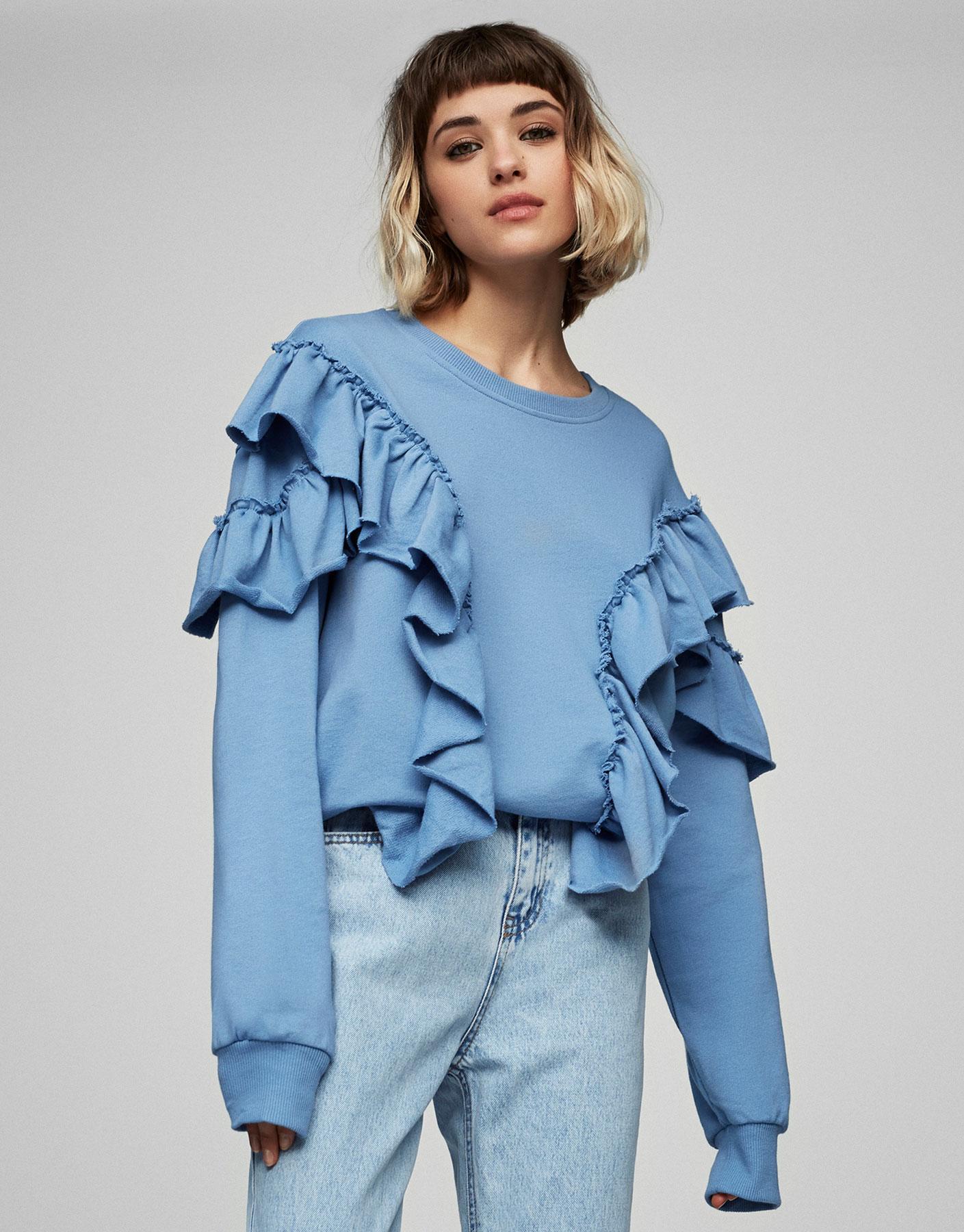 Sweatshirt mit Volants vorne