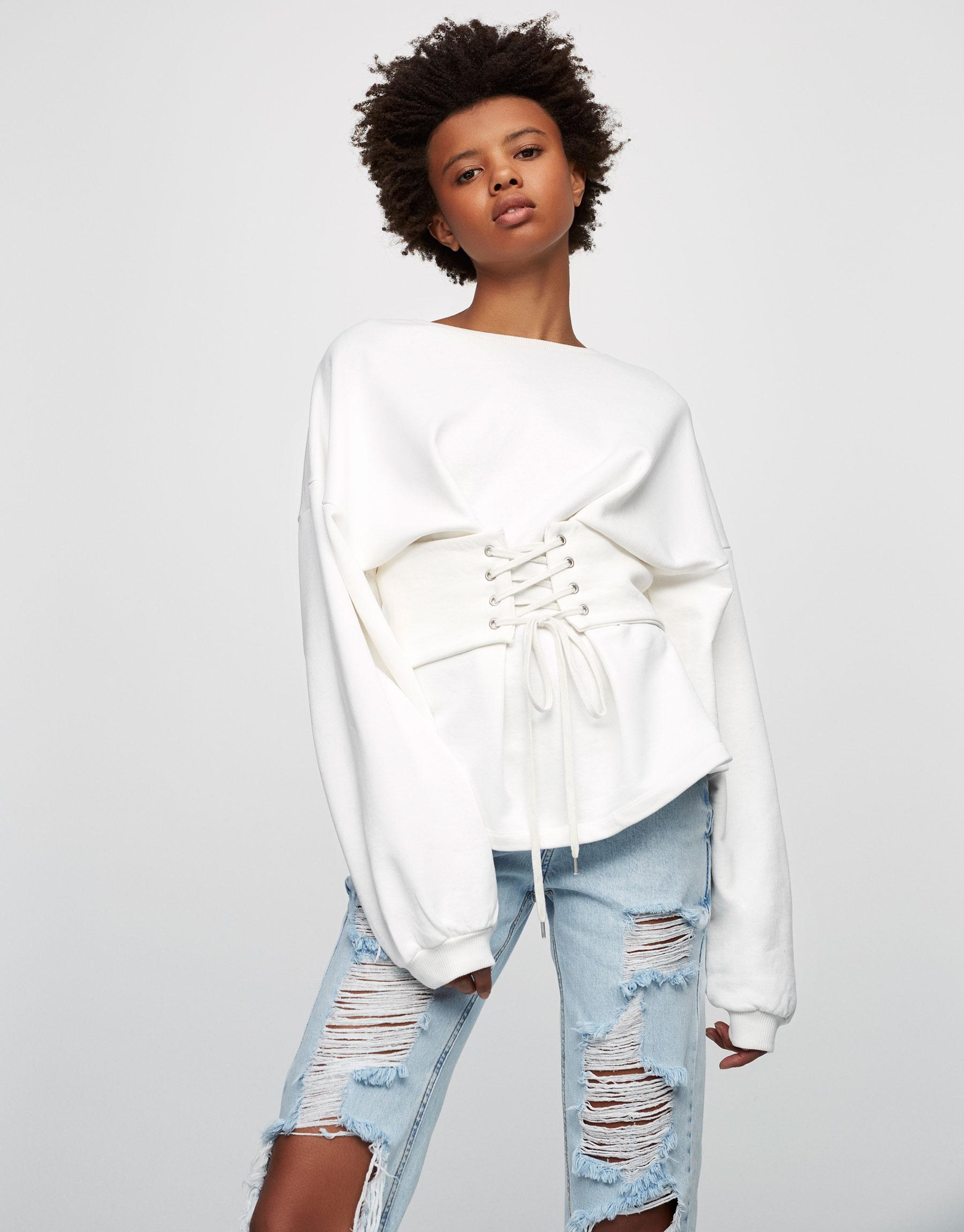 Sweatshirt mit Korsett-Element